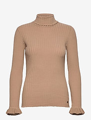 ODD MOLLY - Liza Turtle L/S Top - rullekraver - soft camel - 1