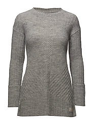 retreat long sweater - LIGHT GREY MELANGE