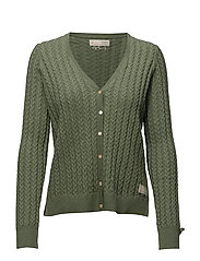 ribbey cardigan - MID GREEN