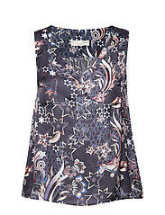 neon garden s/l blouse - FRENCH NAVY