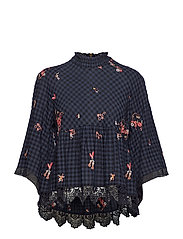 embroidered space roses blouse - FRENCH NAVY
