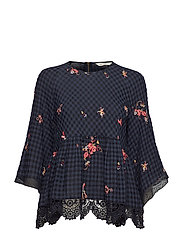 emb sapceroses blouse roundnec - FRENCH NAVY
