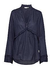 full frill blouse - FRENCH NAVY