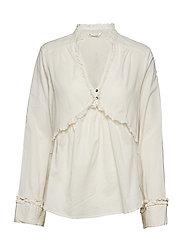 full frill blouse - MISTY WHITE