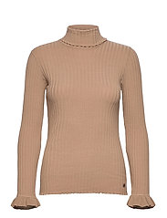 Liza Turtle L/S Top - SOFT CAMEL