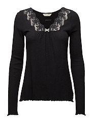 rib-eye l/s top - ALMOST BLACK