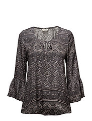 warm hearted tie blouse - ALMOST BLACK