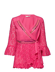 two-step flow blouse - HOT PINK