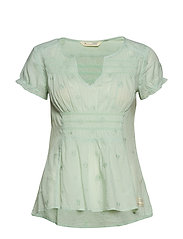 facile flower blouse - FROSTY GREEN