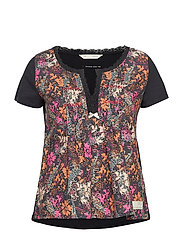 blossom boss top - BLACK MULTI