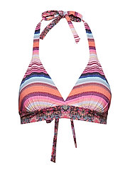 horizons halterneck bikini top - SUNSET STRIPE