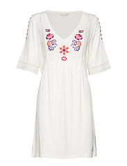 flower crest beach dress - LIGHT CHALK