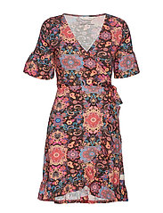 flower wrap dress - DARK BROWN