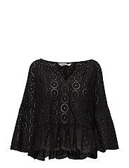 side kick l/s blouse - ALMOST BLACK