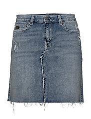 stretch-n-raw jeans skirt - BLUE