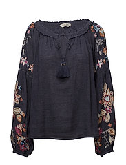out of sight l/s blouse - DARK BLUE