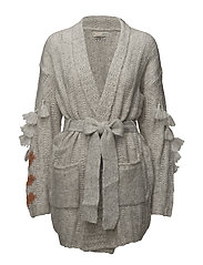 upbeat long cardigan - LIGHT GREY MELANGE
