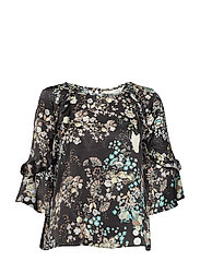 flower fantasy flirt blouse - ALMOST BLACK