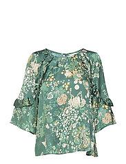 flower fantasy flirt blouse - DARK GREEN