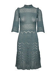 Pretty Pointelle Dress - BLUE CORAL