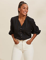 ODD MOLLY - Rachelle Blouse - long sleeved blouses - almost black - 0