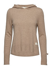 warm and vivid hood sweater - TAN