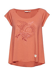 rock star t-shirt - RED CORAL