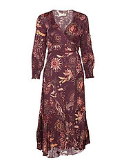 spirit wrap dress - BURGUNDY