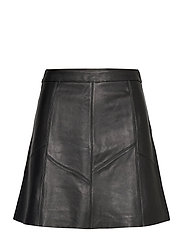 Victoria Leather Skirt - ALMOST BLACK