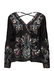 my roots l/s blouse - ALMOST BLACK