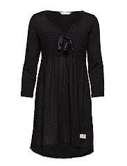 lace hug dress - ALMOST BLACK