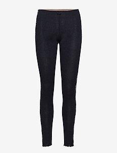 side romance leggings - BLACK