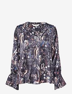 neon garden blouse - FRENCH NAVY