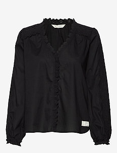 Sleeves Up Blouse - ALMOST BLACK