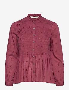 Melinda Blouse - langærmede bluser - baked burgundy