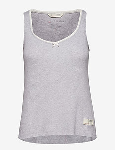 take a bow tank top - LIGHT GREY MELANGE