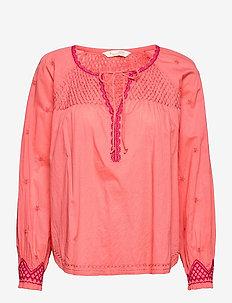 Jill Blouse - long sleeved blouses - living coral