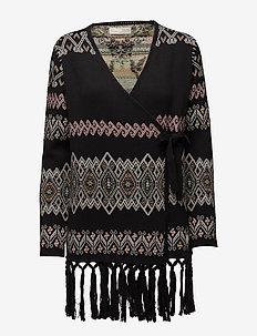 tropical heat wrap cardigan - cardigans - black