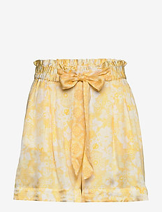 Pretty Printed Shorts - paper bag shorts - vintage yellow