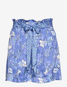 Pretty Printed Shorts - paper bag shorts - vivid blue