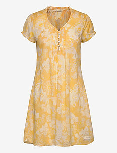 Perfect Print Short Dress - VINTAGE YELLOW