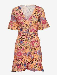 flower wrap dress - APRICOT TAN