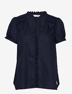 Sleeves Up S/S Blouse - DARK BLUE