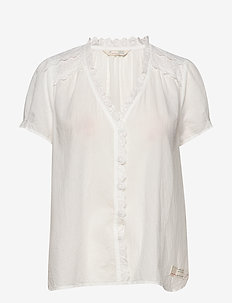 Sleeves Up S/S Blouse - LIGHT CHALK