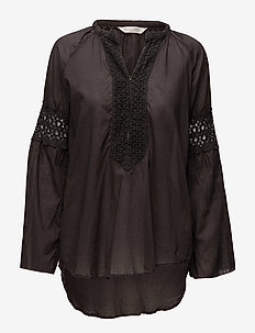 atmosphere l/s blouse - ALMOST BLACK