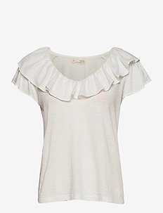 Frill Up Top - t-shirts - light chalk