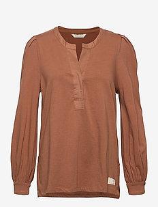 Power Sleeve Top - blouses à manches longues - coconut brown