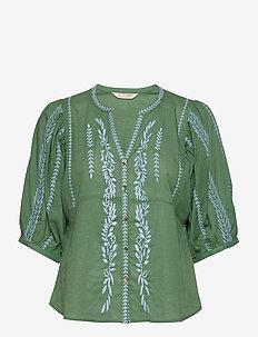 Mariah Blouse - short-sleeved blouses - tropical green