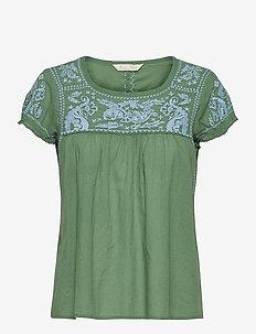 Mariah S/S Blouse - blouses à manches courtes - tropical green