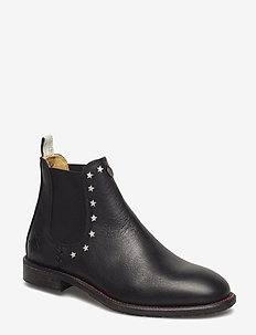 mollyhood low leather boot - ALMOST BLACK